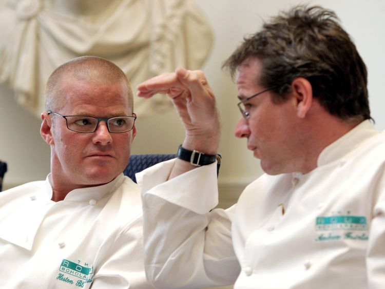 Andrew Fairlie (R) with Heston Blumenthal