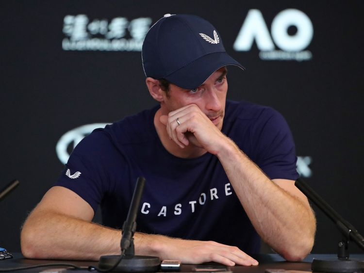 Andy Murray of Great Britain speaks during a press conference ahead of the 2019 Australian Open at Melbourne Park on January 11, 2019 in Melbourne