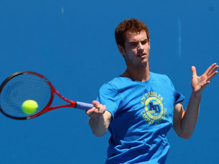 Andy Murray of Great Britain plays a forehand in a practice session during day thirteen of the 2010 Australian Open at Melbourne Park on January 30, 2010 in Melbourne
