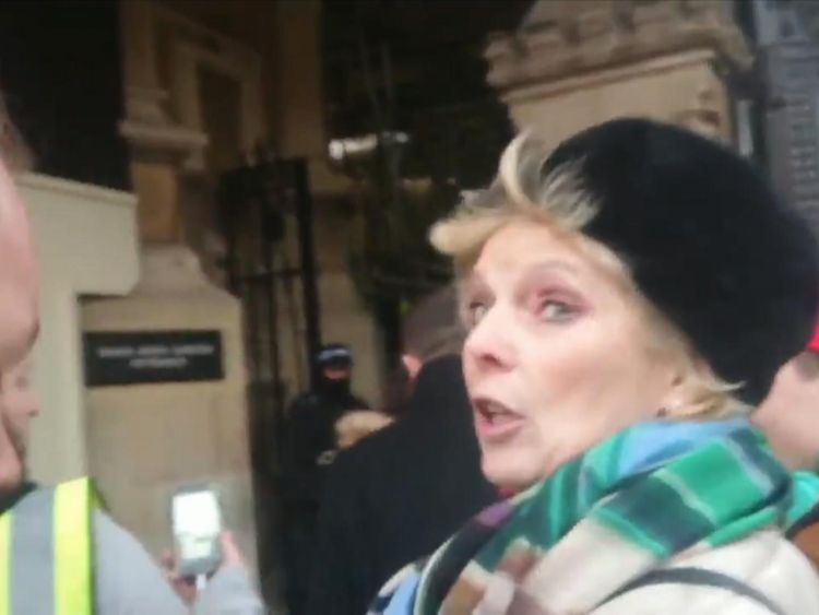 Anna Soubry is confronted by protesters outside parliament