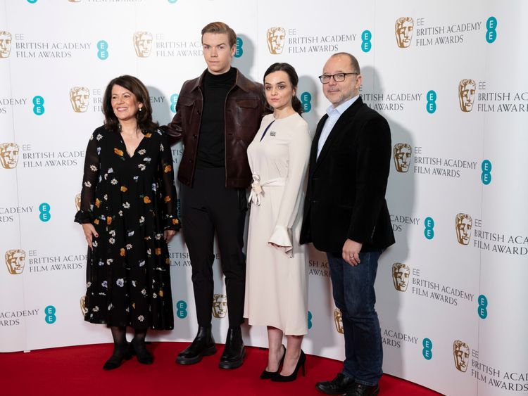 (L-R) Pippa Harris, Will Poulter, Hayley Squires and Marc Samuelson attend the EE BAFTA Film Awards nominations announcement held at BAFTA on January 09, 2019 in London