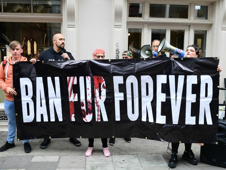 Activists calling for a ban on the use of animal fur outside the Victoria Beckham London Fashion Week SS19 show in Dover Street, London