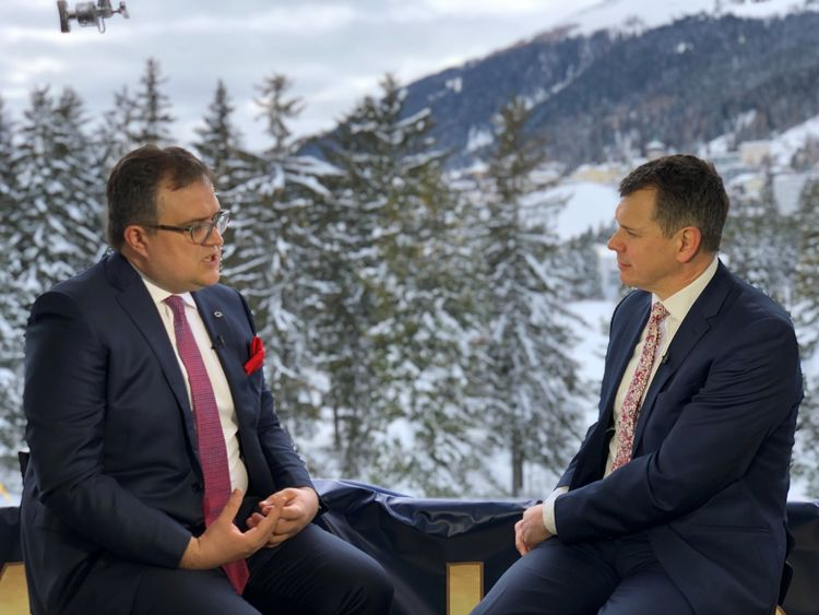 Sky News business correspondent Adam Parsons interviews Michal Krupinski, Chief Executive, Bank Pekao in Davos Jan 29, 2019.