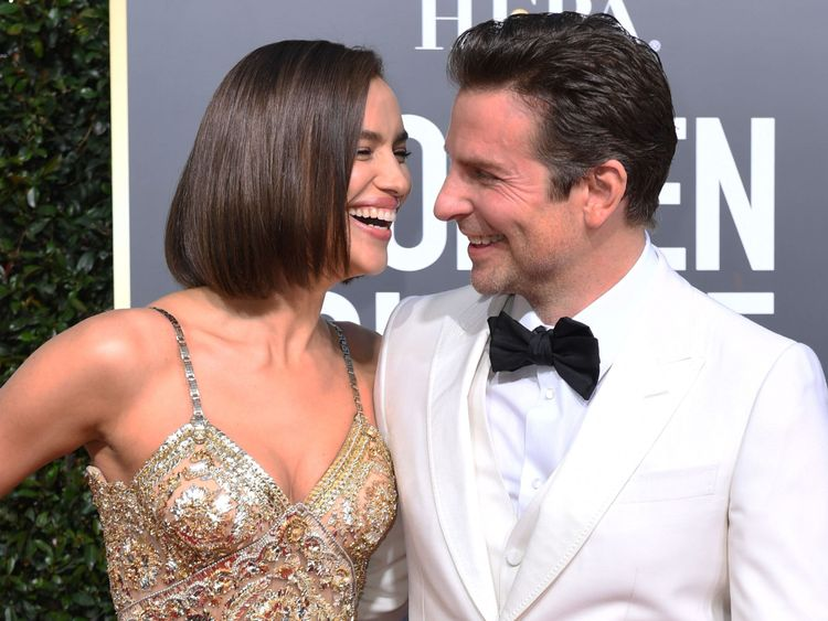 Irina Shayk and Bradley  Cooper at the Golden Globes