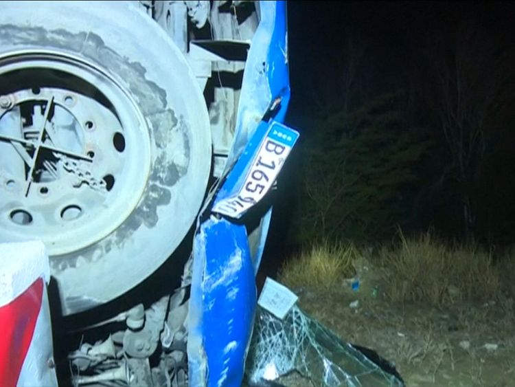 Parts of the bus were crumpled from impact