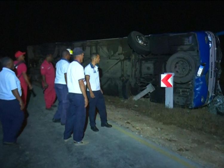 The bus was found on its side