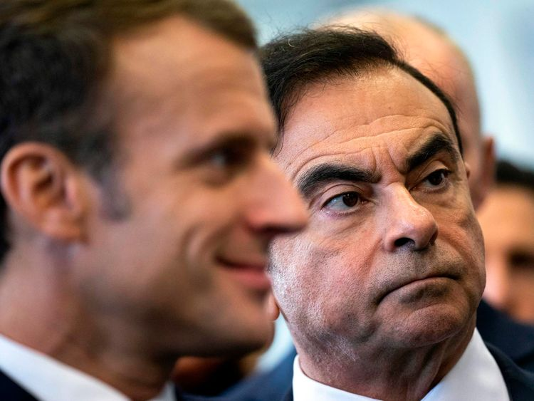 French President Emmanuel Macron and Renault CEO Carlos Ghosn visit the Renault factory in Maubeuge, northeastern France, on 8 November, 2018