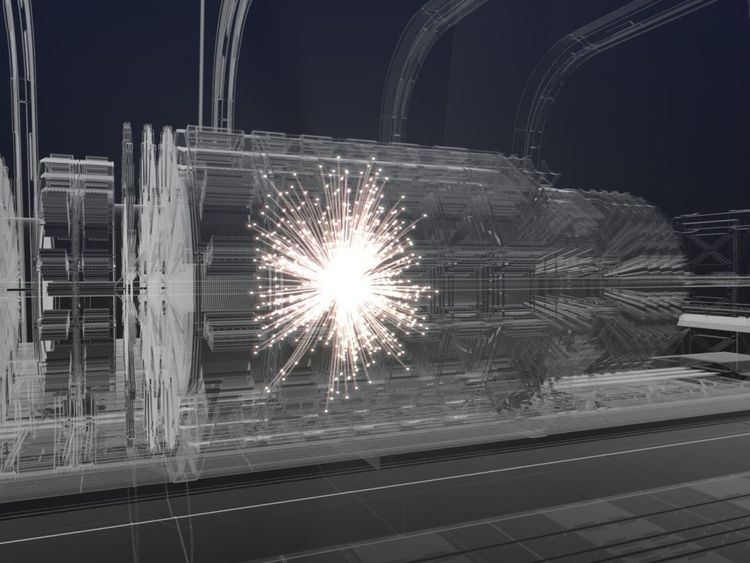 How a 'collision event' might look inside the Future Circular Collider. Pic: CERN