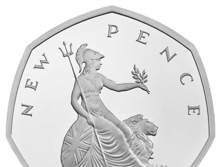 Undated handout photo issued by the Royal Mint of the New Pence 50p, that features in special anniversary Proof set, which will be struck to mark the anniversary of the revolutionary seven-sided coin, first introduced in 1969.