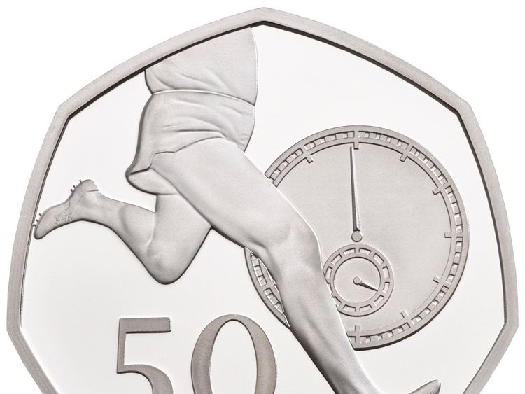 Undated handout photo issued by the Royal Mint of the 50p commemorating Roger Bannister's world record sub-four-minute mile, that features in special anniversary Proof set, which will be be struck to mark the anniversary of the revolutionary seven-sided coin, first introduced in 1969