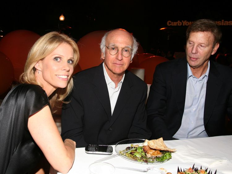 Cheryl Hines, Larry David and Bob Einstein at the season seven after party for Curb Your Enthusiasm