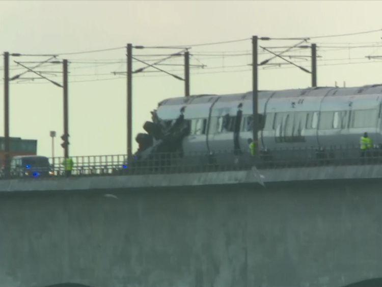 Train accident on Denmark's Great Belt Bridge