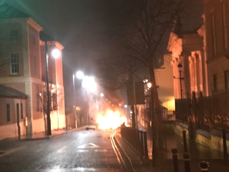 A blaze pictured after the explosion in Londonderry. Pic: @Gary_Middleton