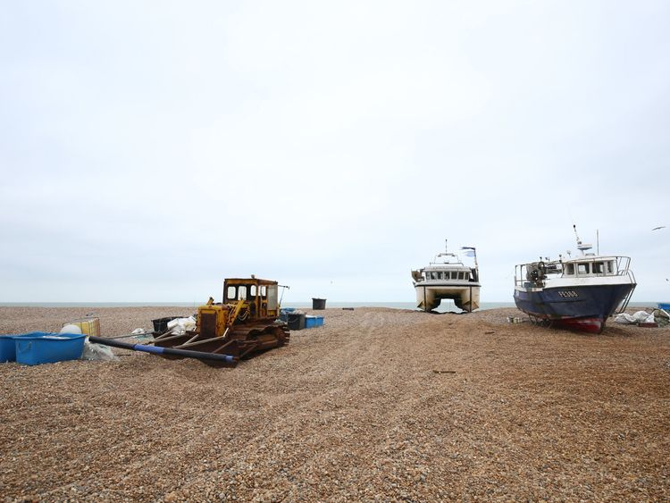 Dungeness beach where an empty inflatable boat was found