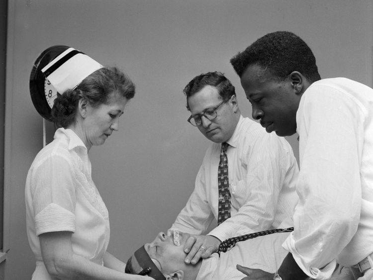 A patient having ECT in 1955