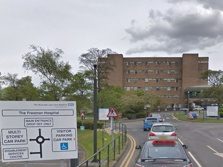 Carter is hooked up to an Ecmo machine at The Freeman Hospital in Newcastle. Pic: Google Streetview