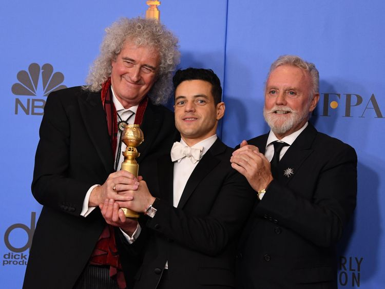 Golden Globes 2019: Queen's Brian May and Roger Taylor with Rami Malek, who plays Freddie Mercury in Bohemian Rhapsody