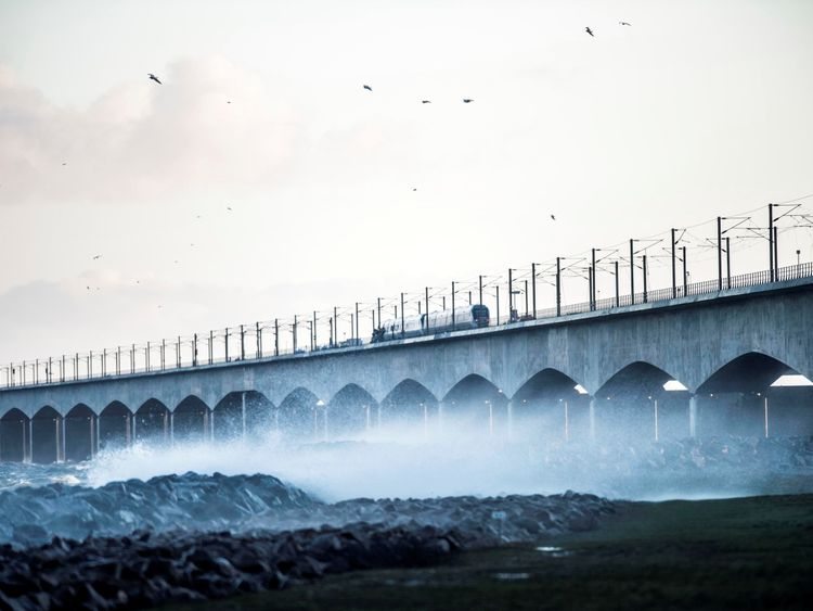 The Great Belt Bridge is seen after traffic has been closed in both directions due to a train accident in Denmark