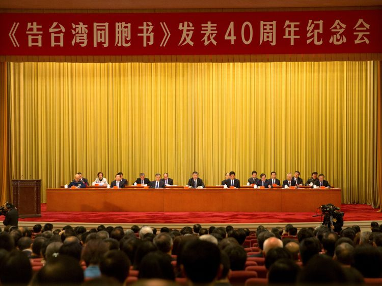 President Xi spoke from the Great Hall of the People in Beijing