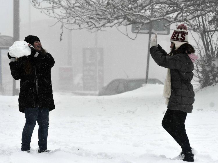 A snowy scene last week in Hortiatis, north of Thessaloniki