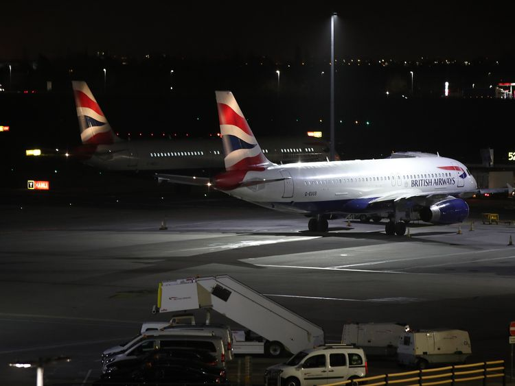 Planes at Terminal 5 at Heathrow airport after departures were temporarily suspended