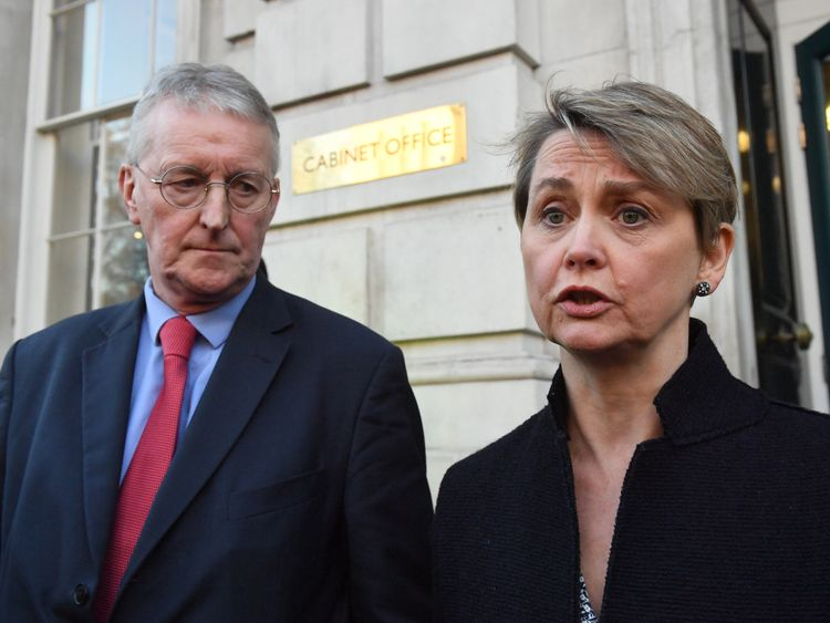 Labour MPs Hilary Benn and Yvette Cooper in Whitehall, London outside the Cabinet Office, after the Prime Minister announced that she would invite party leaders in the Commons and other MPs in for discussion to get a Parliamentary consensus on the way forward over Brexit.