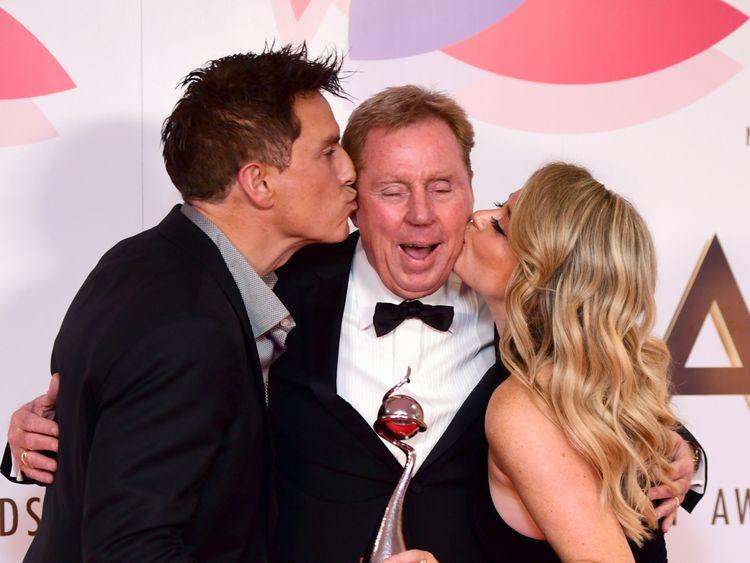 John Barrowman, Harry Redknapp and Emily Atack with The Bruce Forsyth Entertainment Award