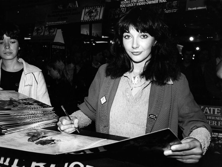 Kate Bush, pictured at an album singing in 1980