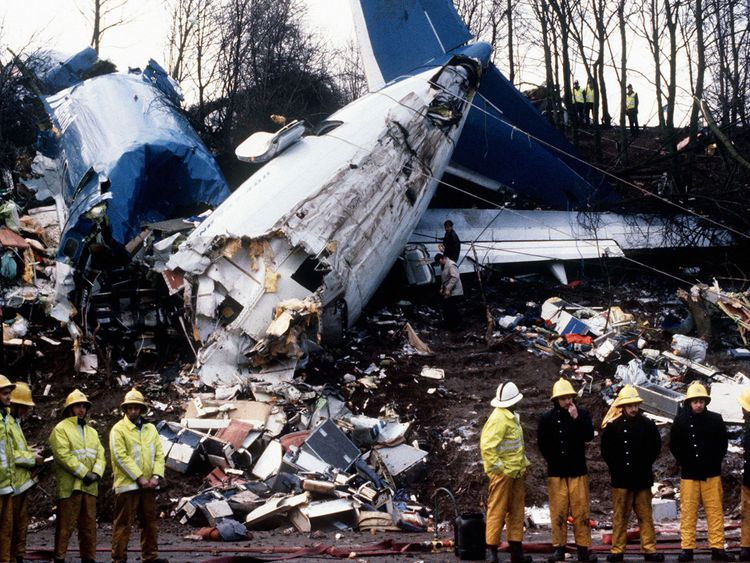 File photo dated Jan 1989 of a Belfast-bound British Midland Boeing 737 which crashed on an embankment of the M1 at Kegworth
