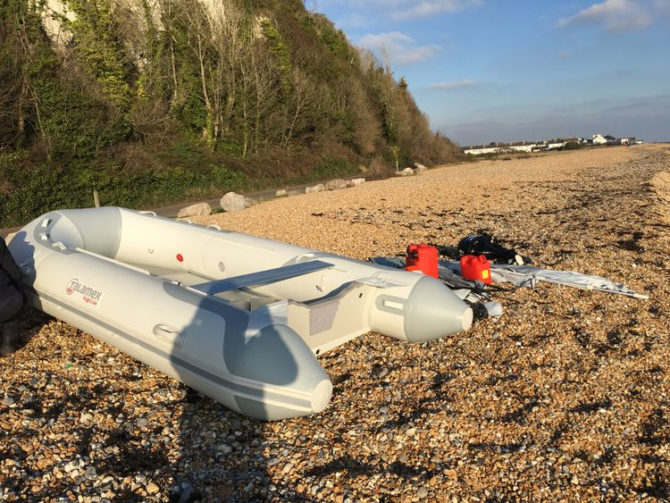 Life-jackets were dumped alongside a dinghy on a beach in Kingsdown