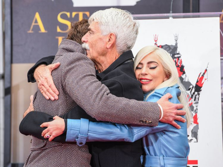 Bradley Cooper and Lady Gaga attend the Hollywood hand and footprint ceremony for their A Star Is Born co-star Sam Elliott