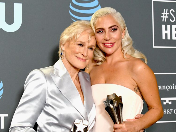Lady Gaga and Glenn Close pose in the press room during the 24th annual Critics' Choice Awards at Barker Hangar on January 13, 2019 in Santa Monica, California