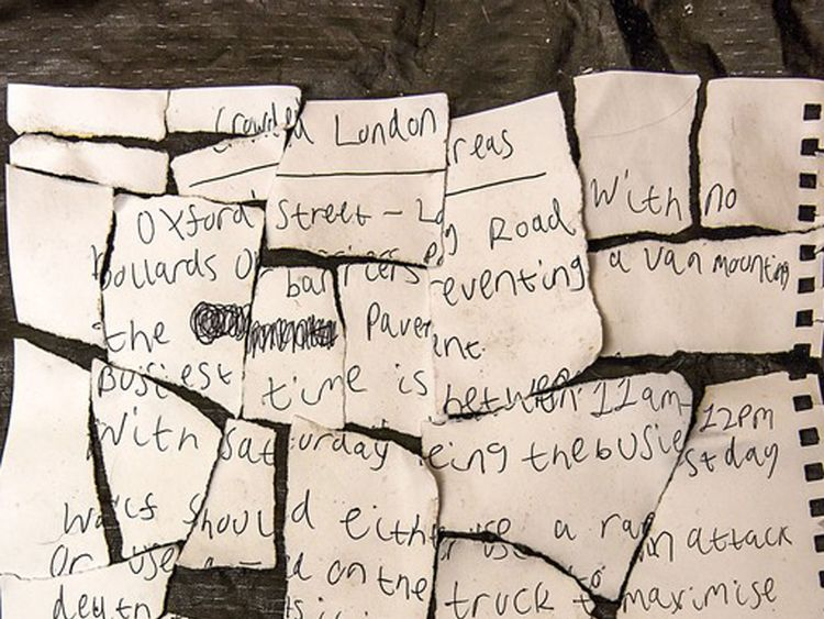 A letter found in a bin with the headline crowded London areas