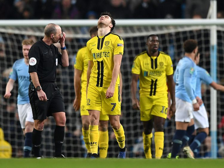 Burton Albion player Scott Fraser looks dejected as City run riot