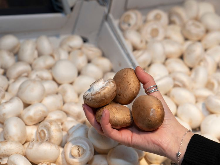 Mushrooms are among the loose items on sale