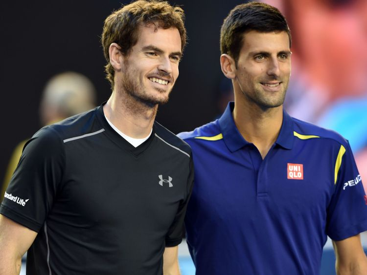 Britain's Andy Murray (L) and Serbia's Novak Djokovic pose for photographs before the men's singles final on day 14 of the 2016 Australian Open tennis tournament in Melbourne on January 31, 2016