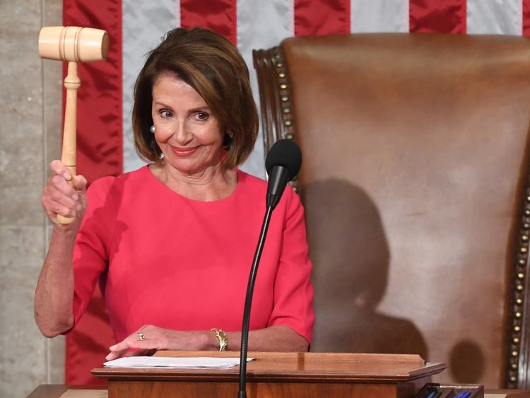 Incoming House Speaker Nancy Pelosi, D-CA, holds the gavel after she is voted in