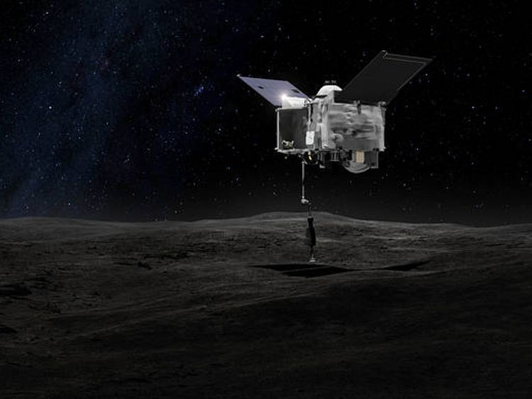 An illustration of Osiris-Rex taking a sample from the ancient asteroid. Pic: NASA