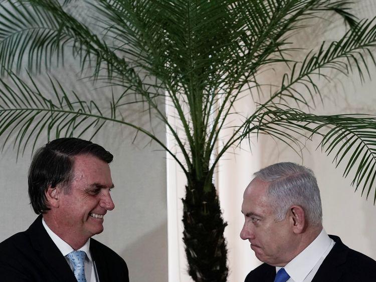 Mr Bolsonaro hosted Israeli PM Benjamin Netanyahu at the end of December