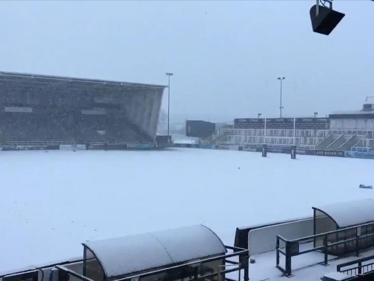 Snow in Newcastle at the Falcons rugby ground. Pic: Newcastle Falcons