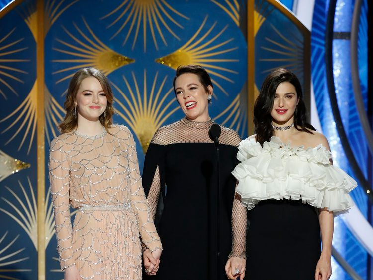 The Favourite stars Emma Stone, Olivia Colman and Rachel Weisz on stage at the Golden Globes 2019