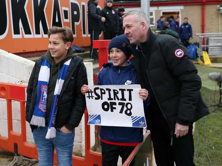 Paul Lambert with Ipswich fans at Accrington Stanley's ground earlier this month