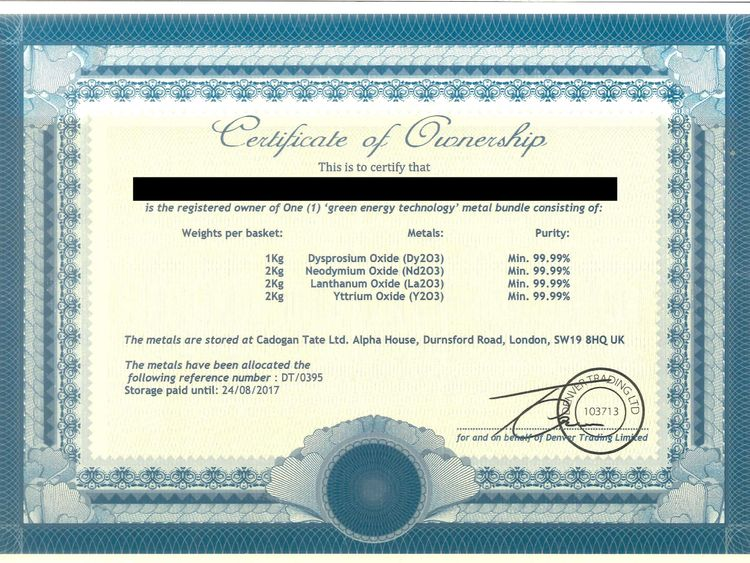 The certificate of ownership given to victims of the scam