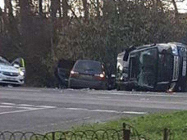 A picture from the scene of the crash shows a vehicle on its side. Pic: KLFM