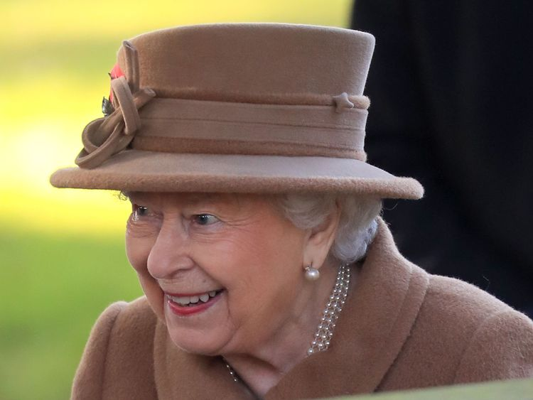 The queen attending church on Sunday