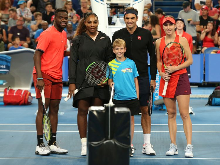 Frances Tiafoe and Serena Williams took on Roger Federer and Belinda Bencic at the Hopman Cup
