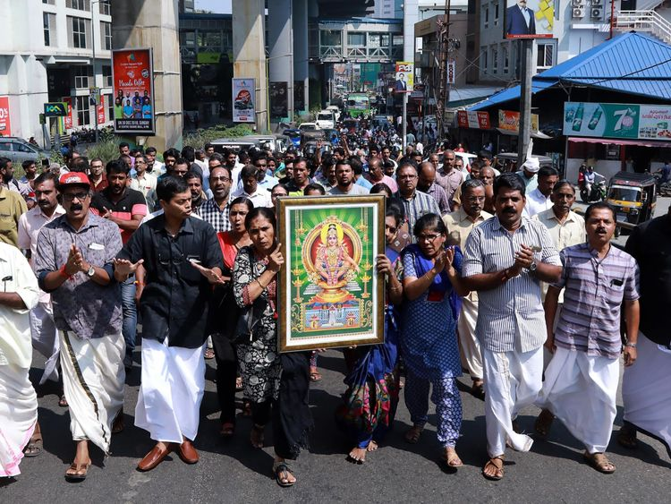 Protests have taken place across Kerala after two women entered the Sabarimala  temple