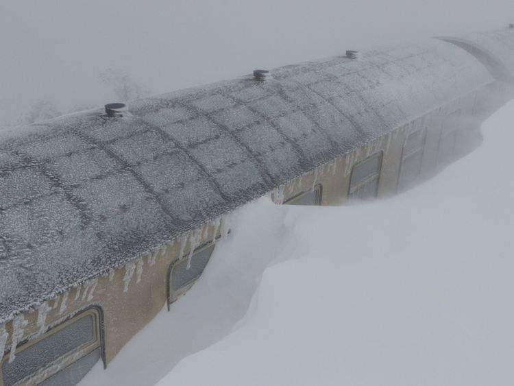 A train got stuck in the snow on the Brocken mountain in the Harz region of Germany