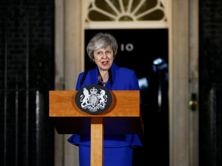 Theresa May makes a statement following winning a confidence vote