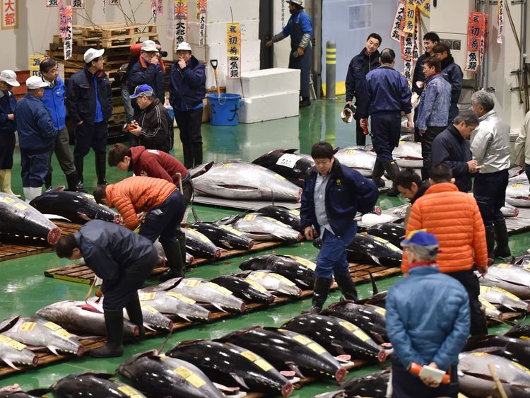 The tuna was sold at the market's first auction of 2019